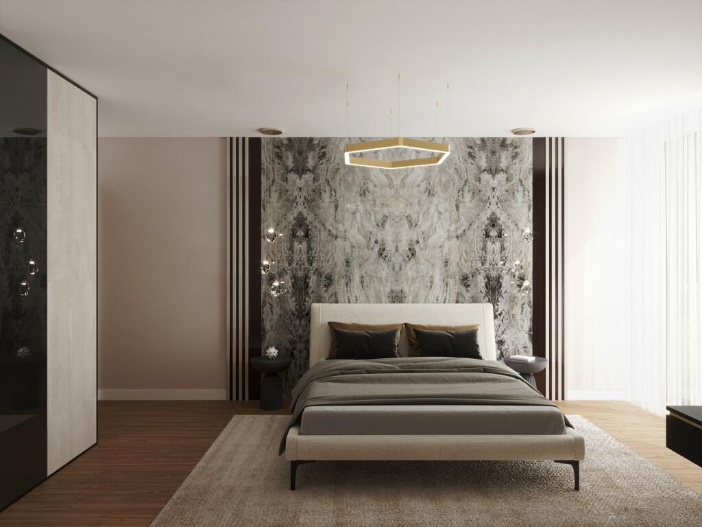 Kőmintás dekoráció a hálószoba falán