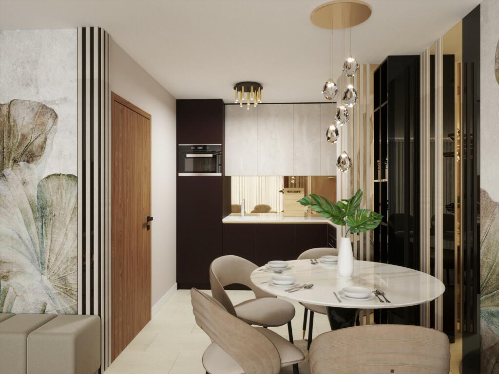 Étkezős konyha márvány mintás asztallal