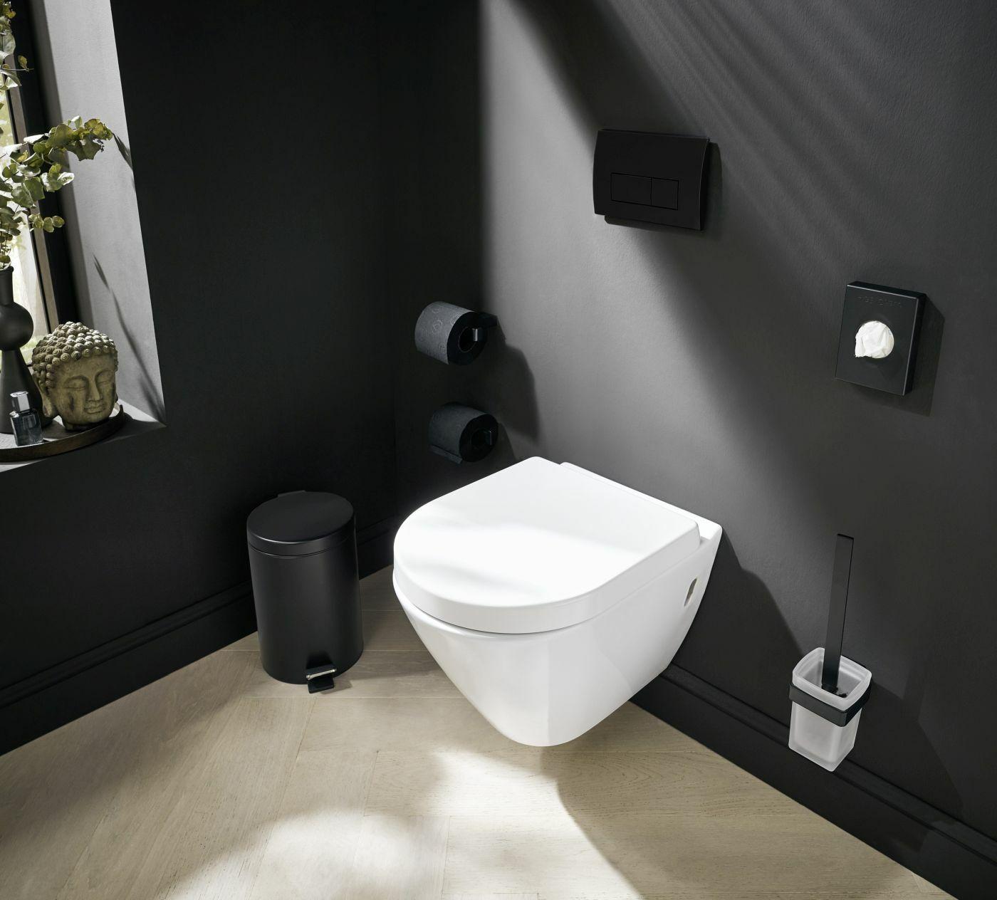 Matt fekete wc-papír tartó, wc-kefe tartó