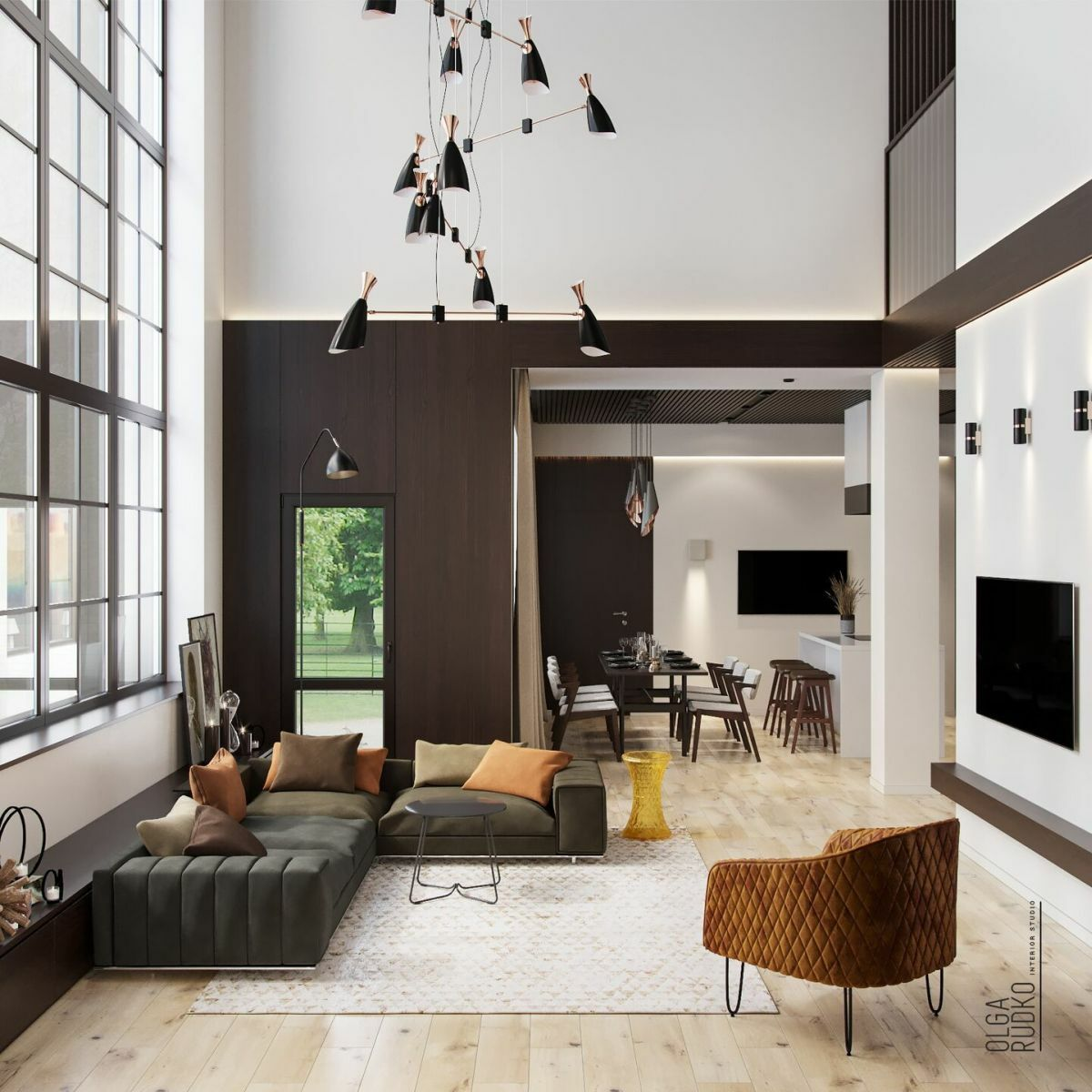 Nagy ablakok, sarokkanapé és fotel