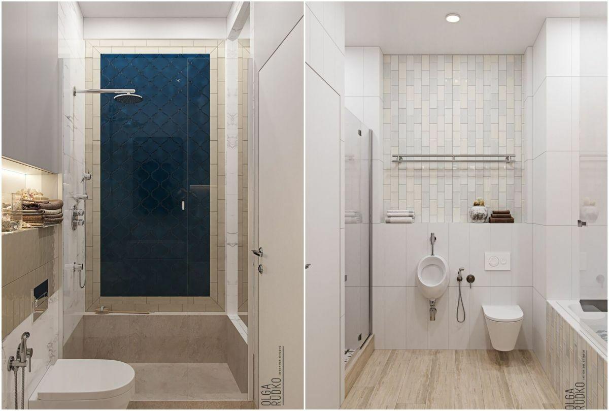 A fürdőszobában is a földszíneket egészíti ki egy-egy élénkebb szín
