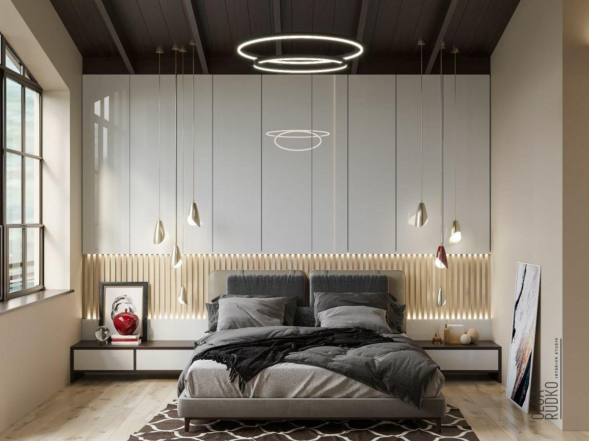 Kellemes megjelenésű vonzó hálószoba
