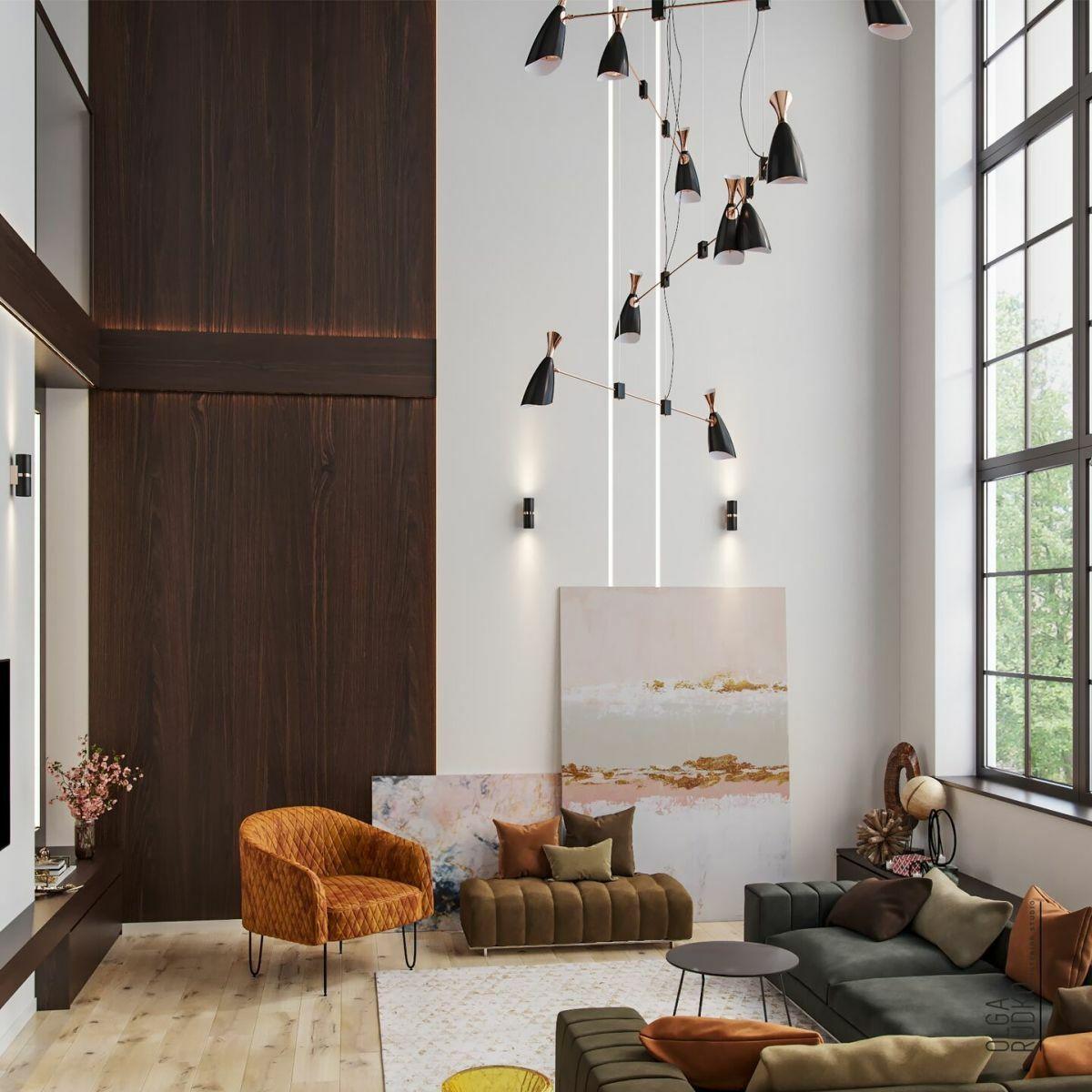 Nagy belmagasságú nappali színes ülőbútorokkal