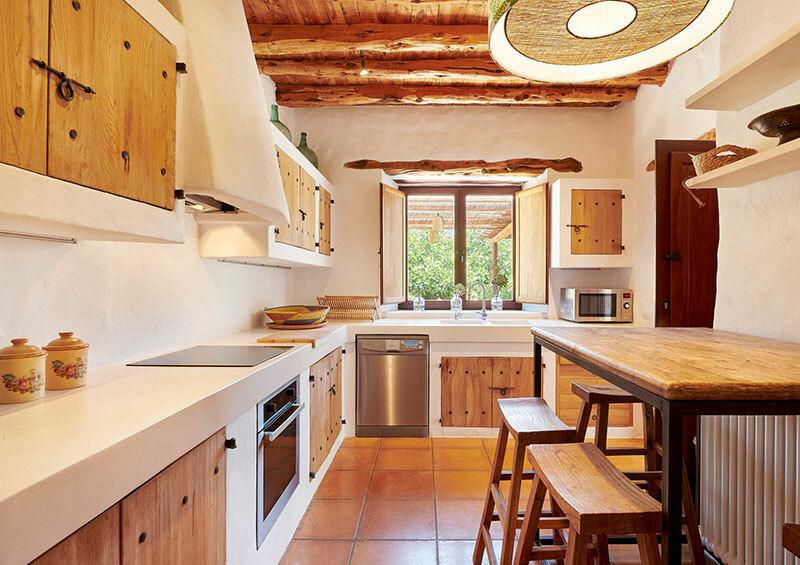 Téglából épített konyha