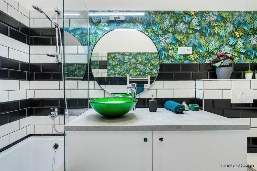 Metró csempe és pálmalevél mintás vízálló tapéta fürdőszobába