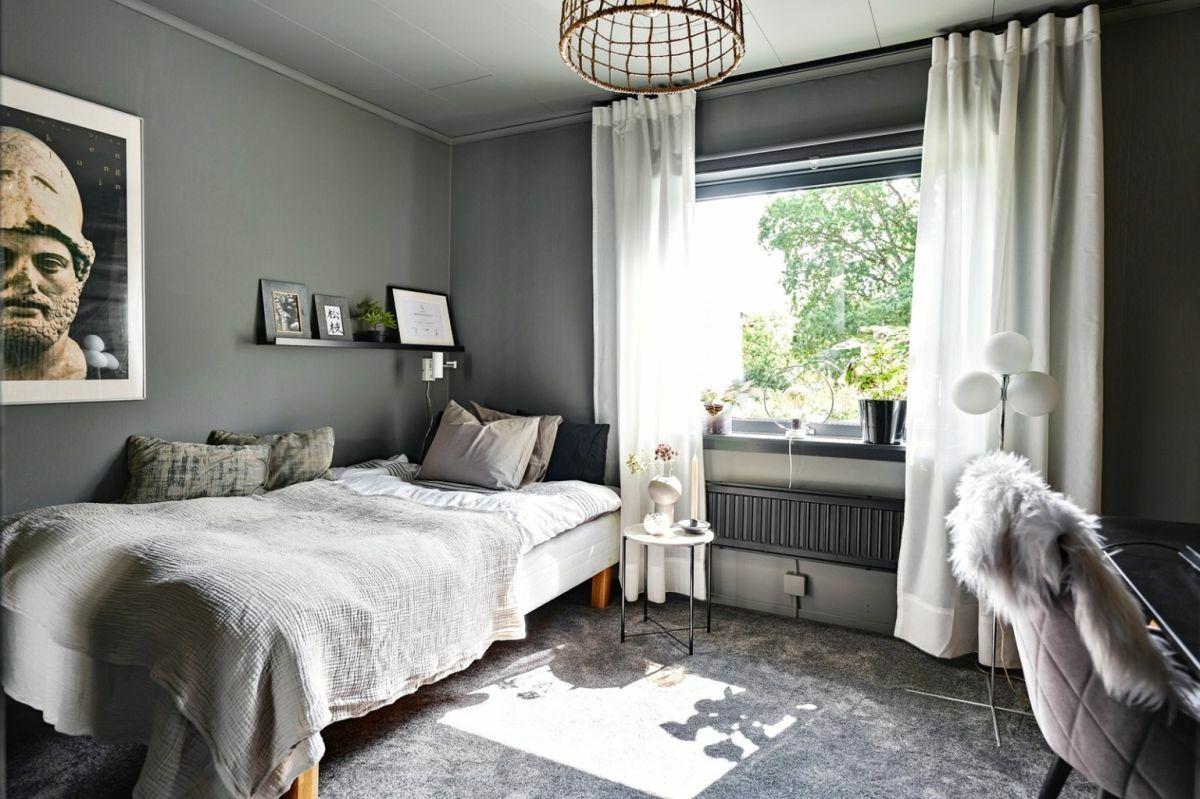 Hálószoba szürkével és fehérrel