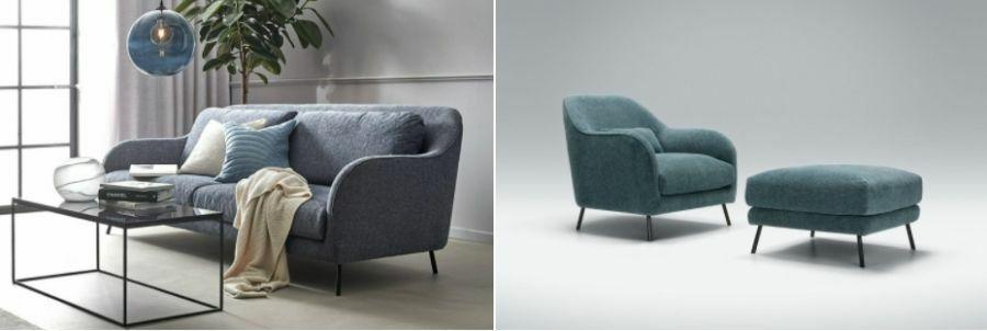 Íves karfával készült kanapé és fotel