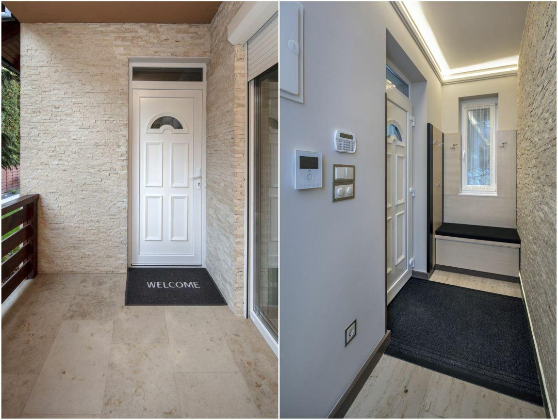 A bejárati ajtó melletti külső fal és az előszoba azonos falburkolatot kapott