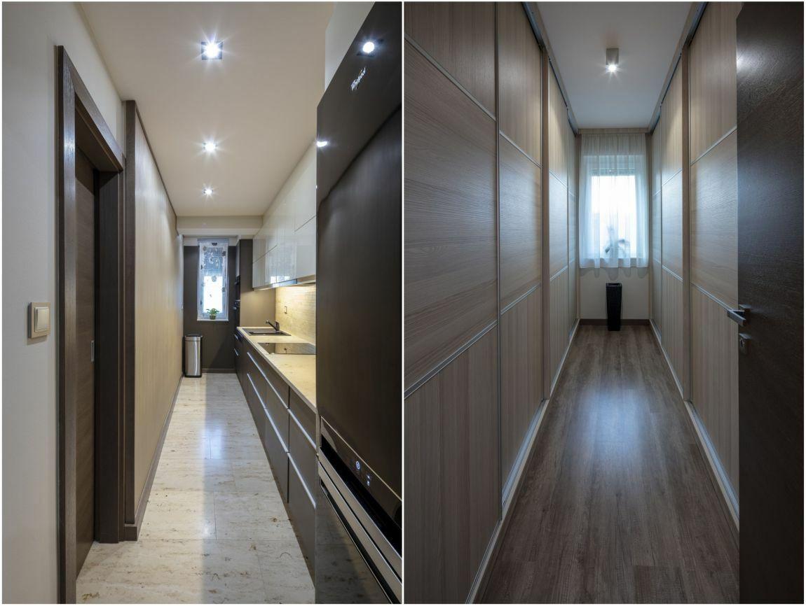 A konyha és gardrób hosszúkás helyiségei