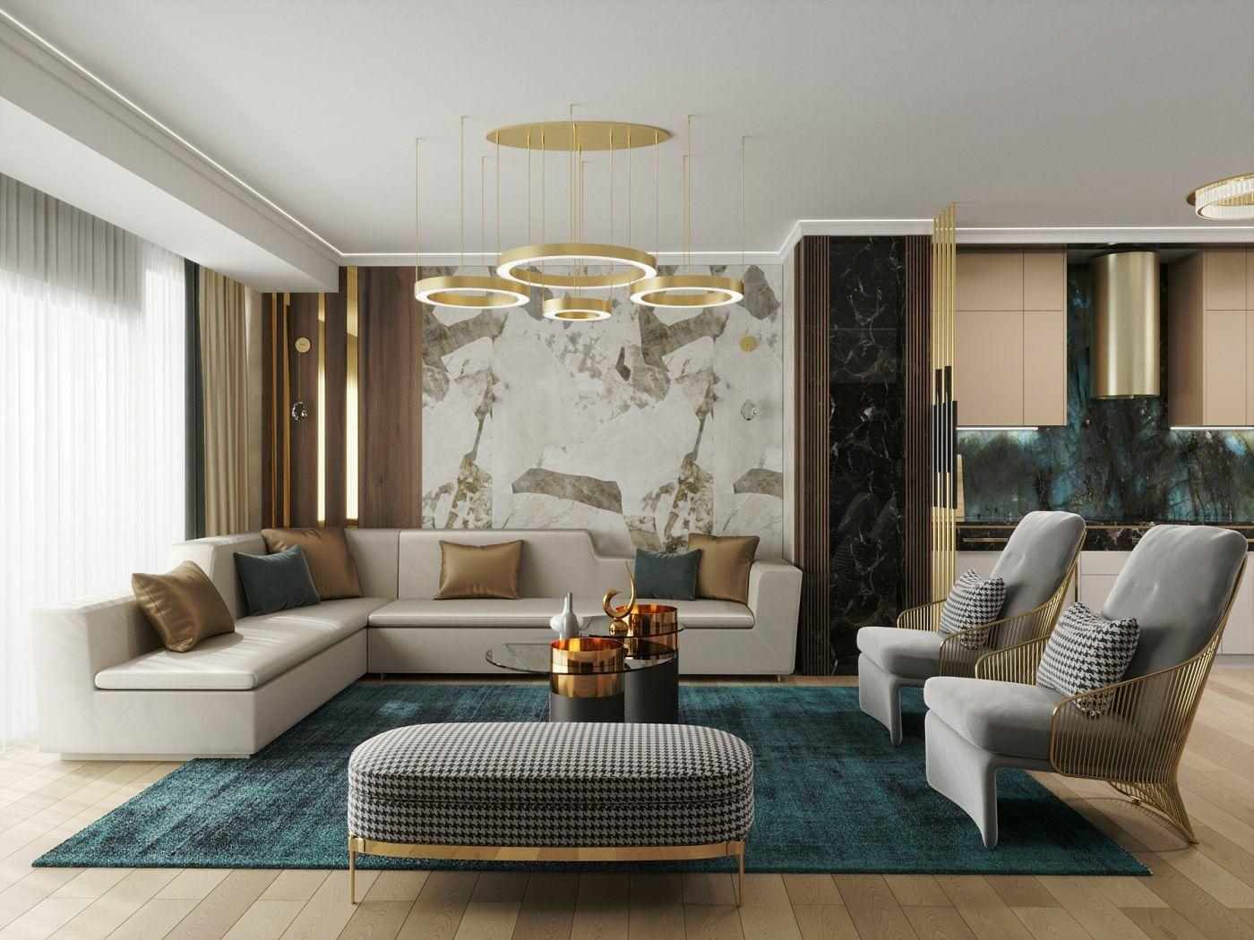 Elegáns nappali sarokkanapéval és fotelekkel
