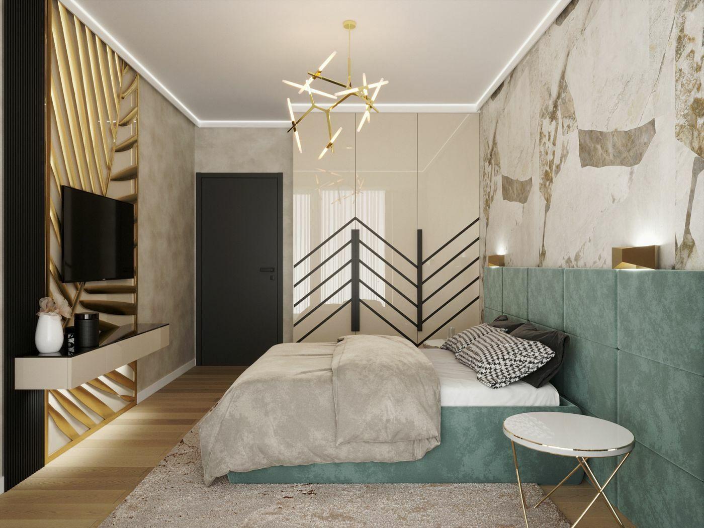 Egyedi tervezésű panel a hálószoba falán arany színben