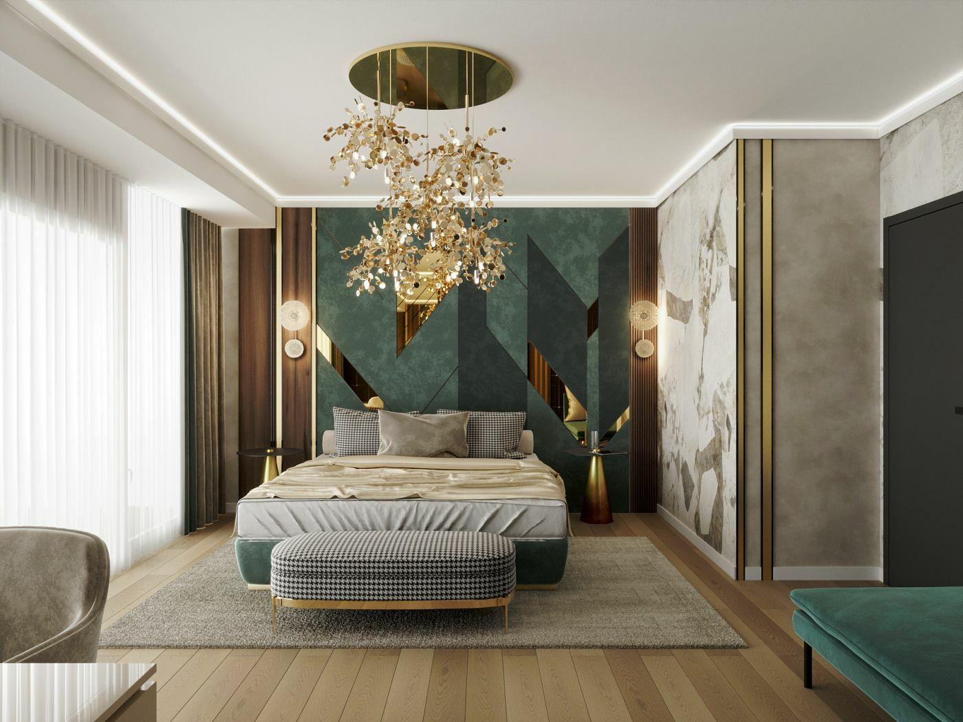 A sötét türkiz színek különleges hangulatot teremtenek a hálószobában