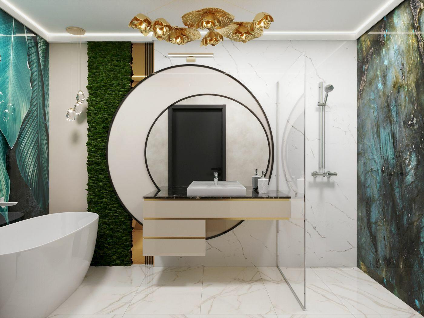 Exkluzív fürdőszoba berendezés jellegzetesen DD Interior stílusban