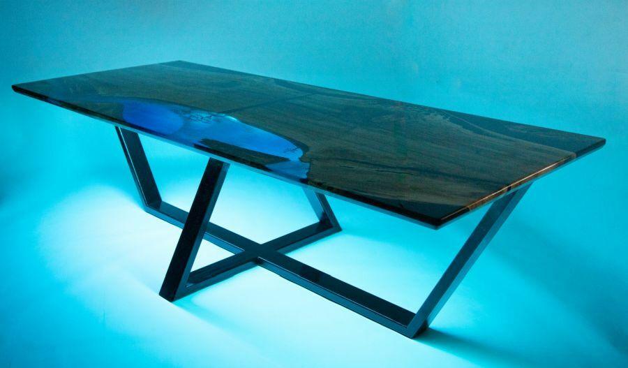 Design epoxy asztal led fényekkel